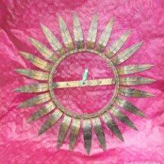 Vintage: MARCO HIERRO HOJAS TIPO SOL PARA ESPEJO O LAMPARA. Lote 245124135
