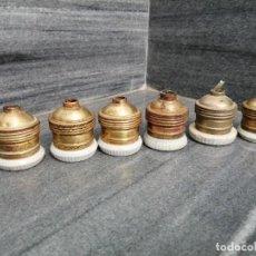 Vintage: 6 ANTIGUOS PORTA LAMPARAS BOBILLAS PORTABOBILLAS PARA PORTALAMPARA DE LATON Y PORCELANA SIMÓN. Lote 246671740