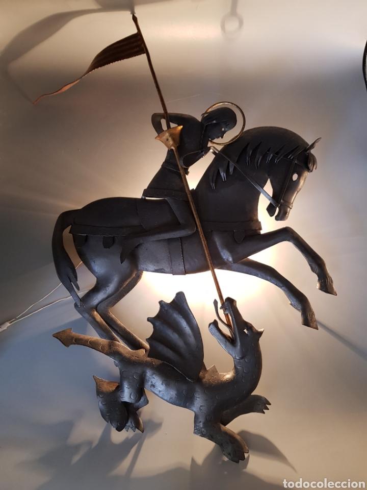 Vintage: LAMPARA SANT JORDI POR RAIMON CASALS I ALSINA ESCULTURA APLIQUE HIERRO REPUJADO FIRMADA - Foto 4 - 248726125