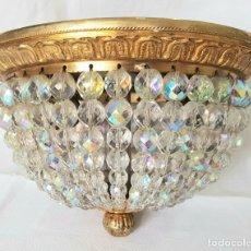 Vintage: ANTIGUA LAMPARA DE TECHO IMPERIO 2 LUCES BRONCE Y CRISTAL. Lote 251526135