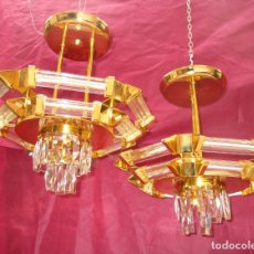 Vintage: PAREJA DE LAMPARAS VINTAGE AÑOS 80 RAFAEL TORMO CRISTAL Y BAÑO ORO. Lote 252701335