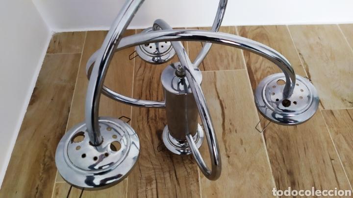 Vintage: Lámpara Techo Cromada 4 bombillas, Tulipa Murano. Auténtica años 70. Para restaurar. - Foto 5 - 253573500