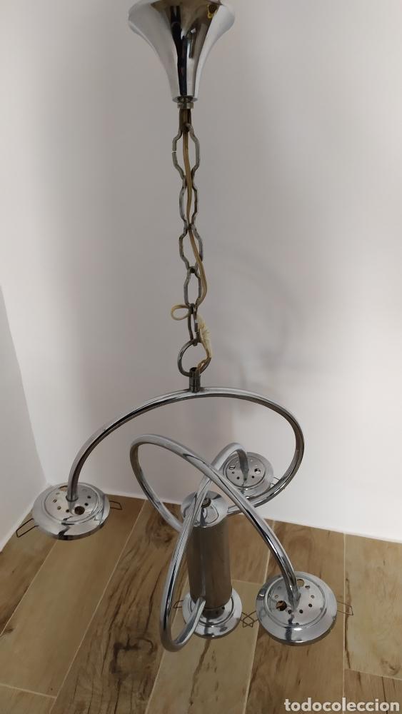 Vintage: Lámpara Techo Cromada 4 bombillas, Tulipa Murano. Auténtica años 70. Para restaurar. - Foto 8 - 253573500