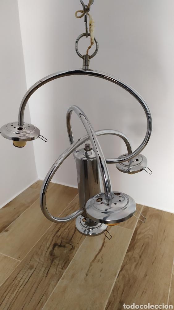 Vintage: Lámpara Techo Cromada 4 bombillas, Tulipa Murano. Auténtica años 70. Para restaurar. - Foto 9 - 253573500
