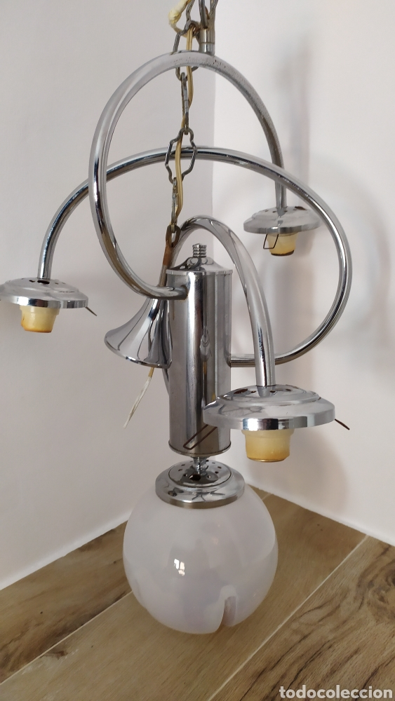 Vintage: Lámpara Techo Cromada 4 bombillas, Tulipa Murano. Auténtica años 70. Para restaurar. - Foto 13 - 253573500