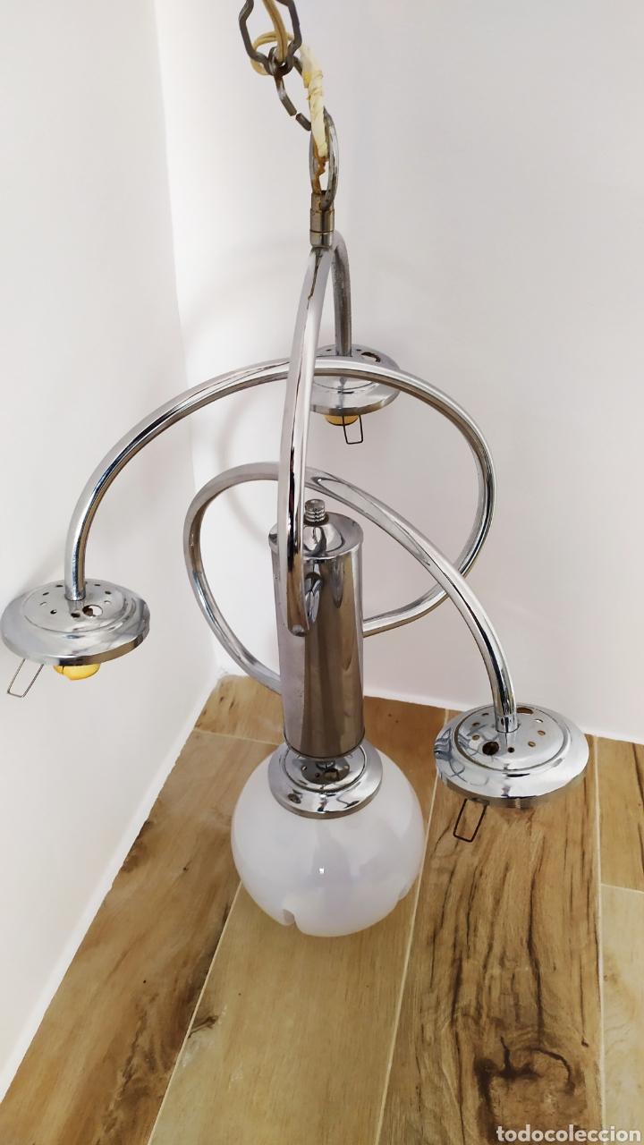 Vintage: Lámpara Techo Cromada 4 bombillas, Tulipa Murano. Auténtica años 70. Para restaurar. - Foto 16 - 253573500