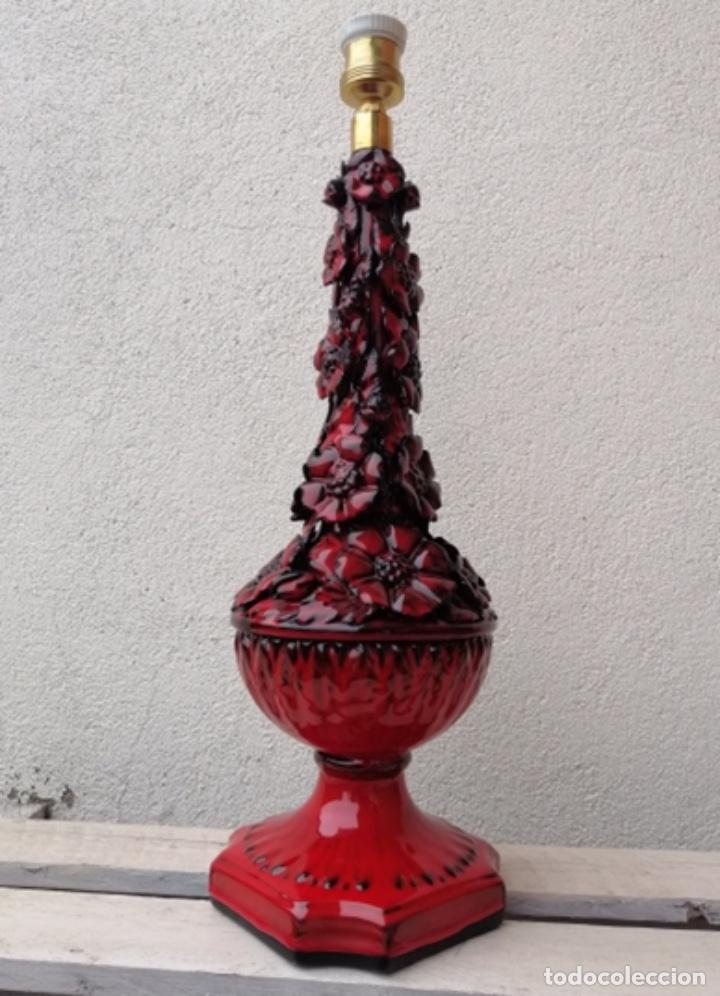 Vintage: LAMPARA VINTAGE MANISES PORCELANA CERÁMICA FLORES CASES - Foto 3 - 253965970