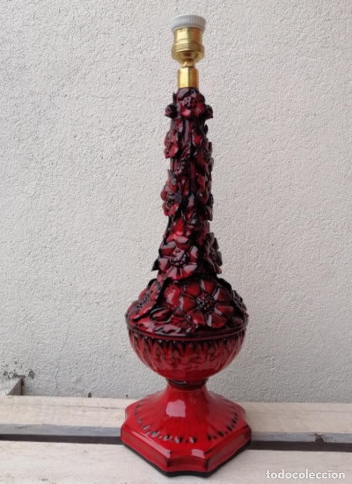 Vintage: LAMPARA VINTAGE MANISES PORCELANA CERÁMICA FLORES CASES - Foto 5 - 253965970
