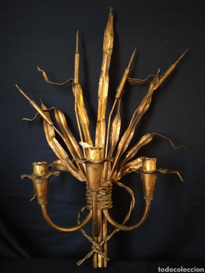 APLIQUE HIERRO DORADO ESPIGAS (Vintage - Lámparas, Apliques, Candelabros y Faroles)