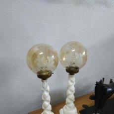 Vintage: MAGNIFICA PAREJA DE LAMPARAS IMPERIALES ANTIGUAS EN MARMOL O ALABASTRO. Lote 254646000