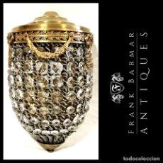 Vintage: SOBERBIA LÁMPARA DE PARED / APLIQUE / PLAFÓN WALL LAMP EMPEROR EICHHOLTZ EN CRISTAL TALLADO Y LATÓN. Lote 257300435