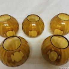 Vintage: CINCO TULIPAS REDONDAS CRISTAL ÁMBAR. BORDE RIZADO. LAMPARA FAROL.. Lote 257714165
