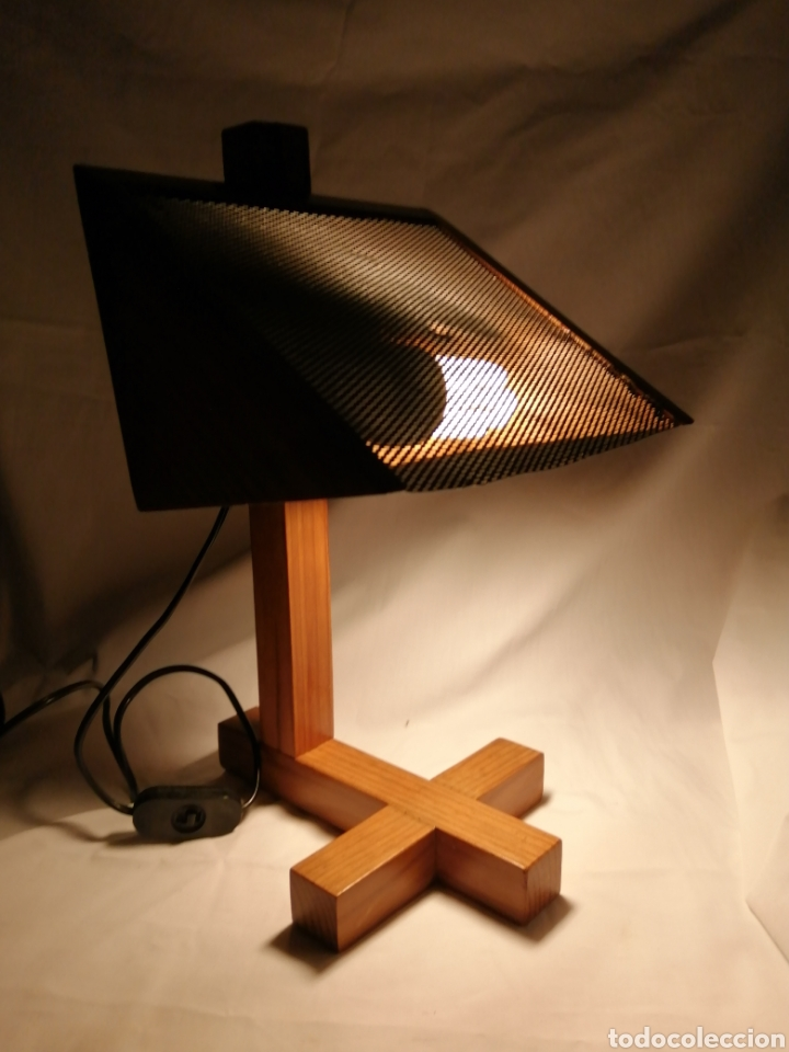 Vintage: Lámpara sobremesa en madera y rejilla hierro estilo Nórdico Escandinavo vintage años 70 - Foto 7 - 262065875