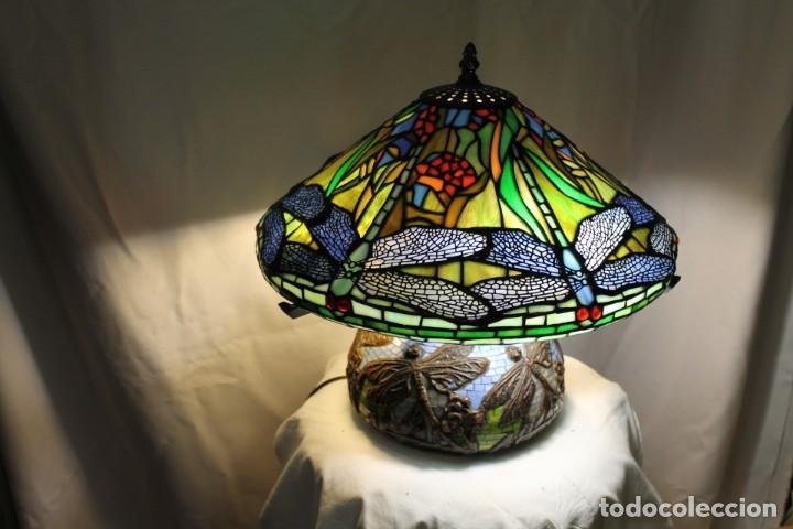 LÁMPARA ESTILO TYFFANI DE CRISTAL EMPLOMADO (Vintage - Lámparas, Apliques, Candelabros y Faroles)