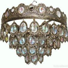 Vintage: PRECIOSA LAMPARA VINTAGE MID-CENTURY PALWA GERMANY MITICOS CRISTALES MULTICOLORES. Lote 262138270