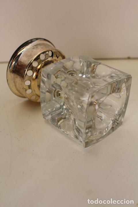 Vintage: candelabro plateado y cristal - Foto 2 - 262840820