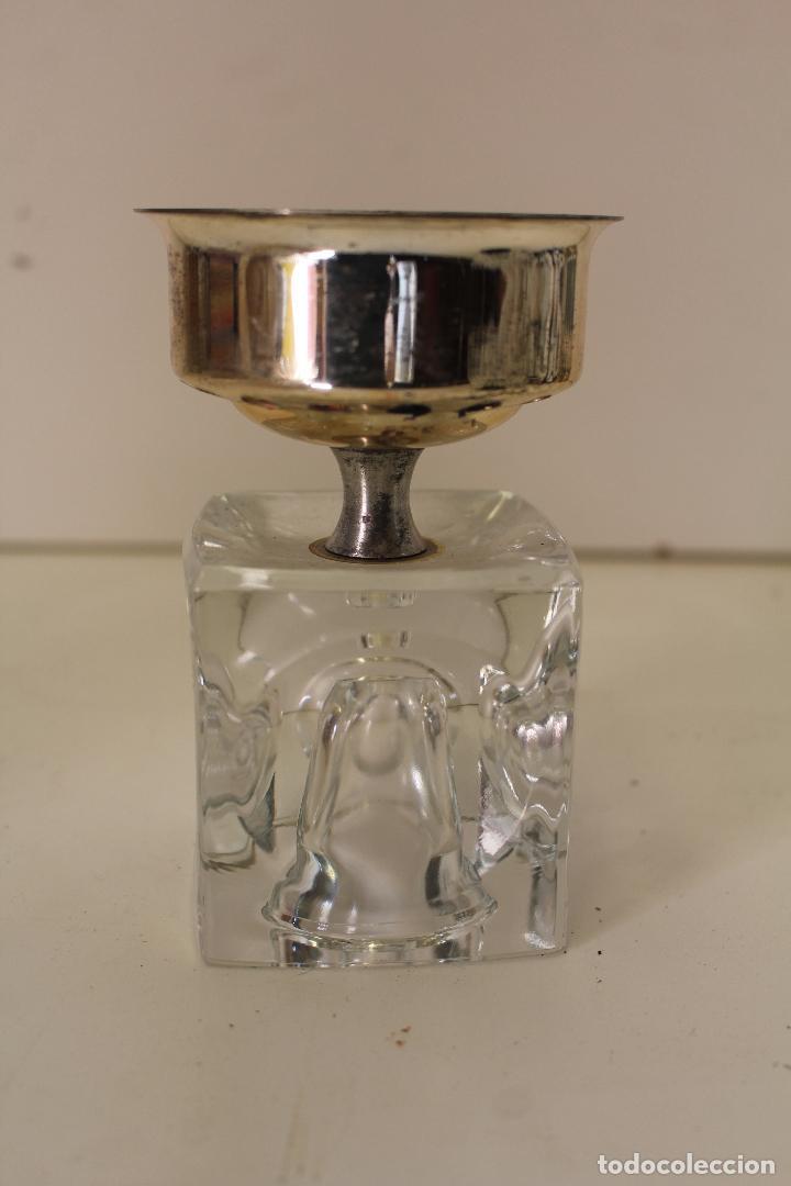 Vintage: candelabro plateado y cristal - Foto 3 - 262840820