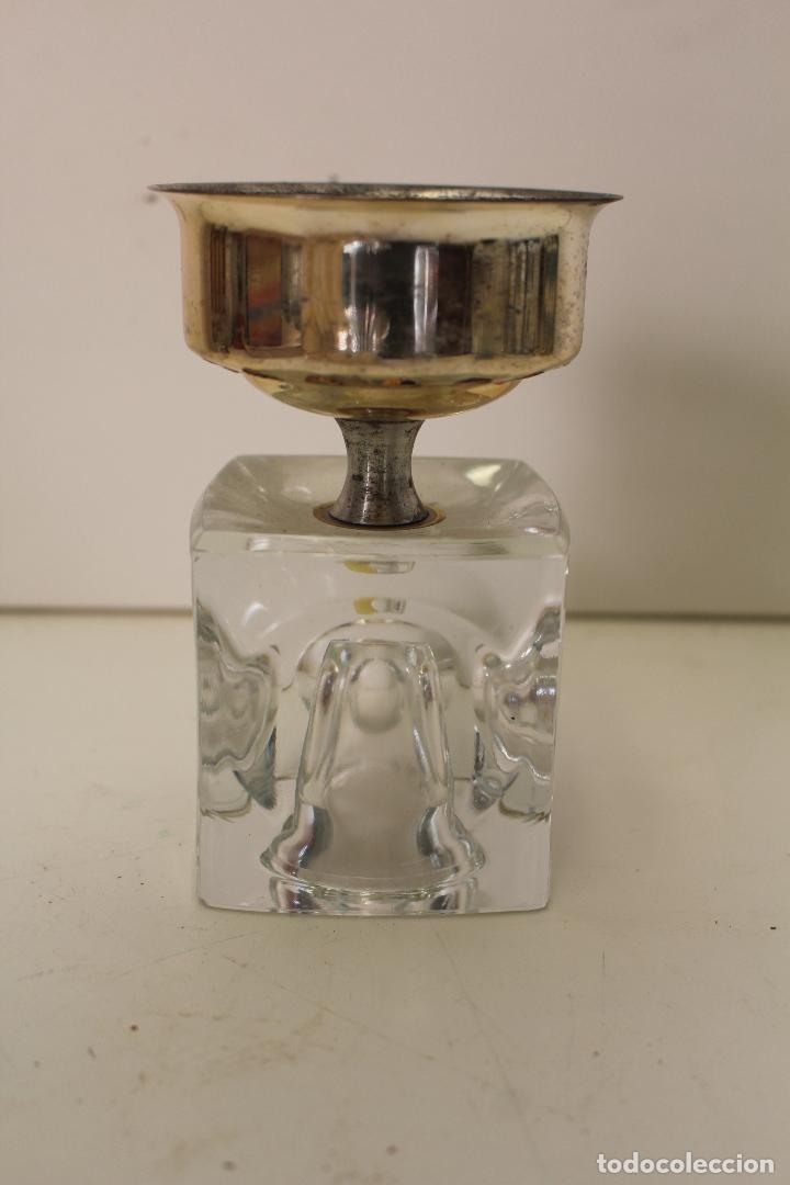 CANDELABRO PLATEADO Y CRISTAL (Vintage - Lámparas, Apliques, Candelabros y Faroles)