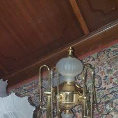 Vintage: LAMPARA DE METAL Y CRISTAL GLASEADO MATE TRANSLUCIDO FORMA TULIPAN. Lote 263214770