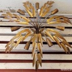 Vintage: LAMPARA TECHO HOJAS SOL PAN DE ORO 7 LUCES AÑOS 60 70. Lote 265649119