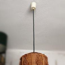 Vintage: LAMPARA DE TECHO DE MADERA, RATAN O RAFIA. VINTAGE ORIGINAL AÑOS 50-60. Lote 267605969