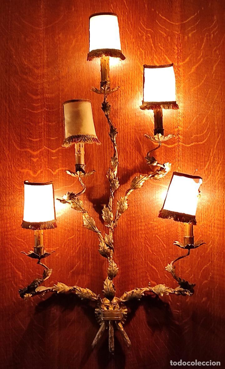 Vintage: Decorativo Gran Aplique - Hierro Forjado Dorado - 5 Luces - Vintage - Foto 2 - 268534319