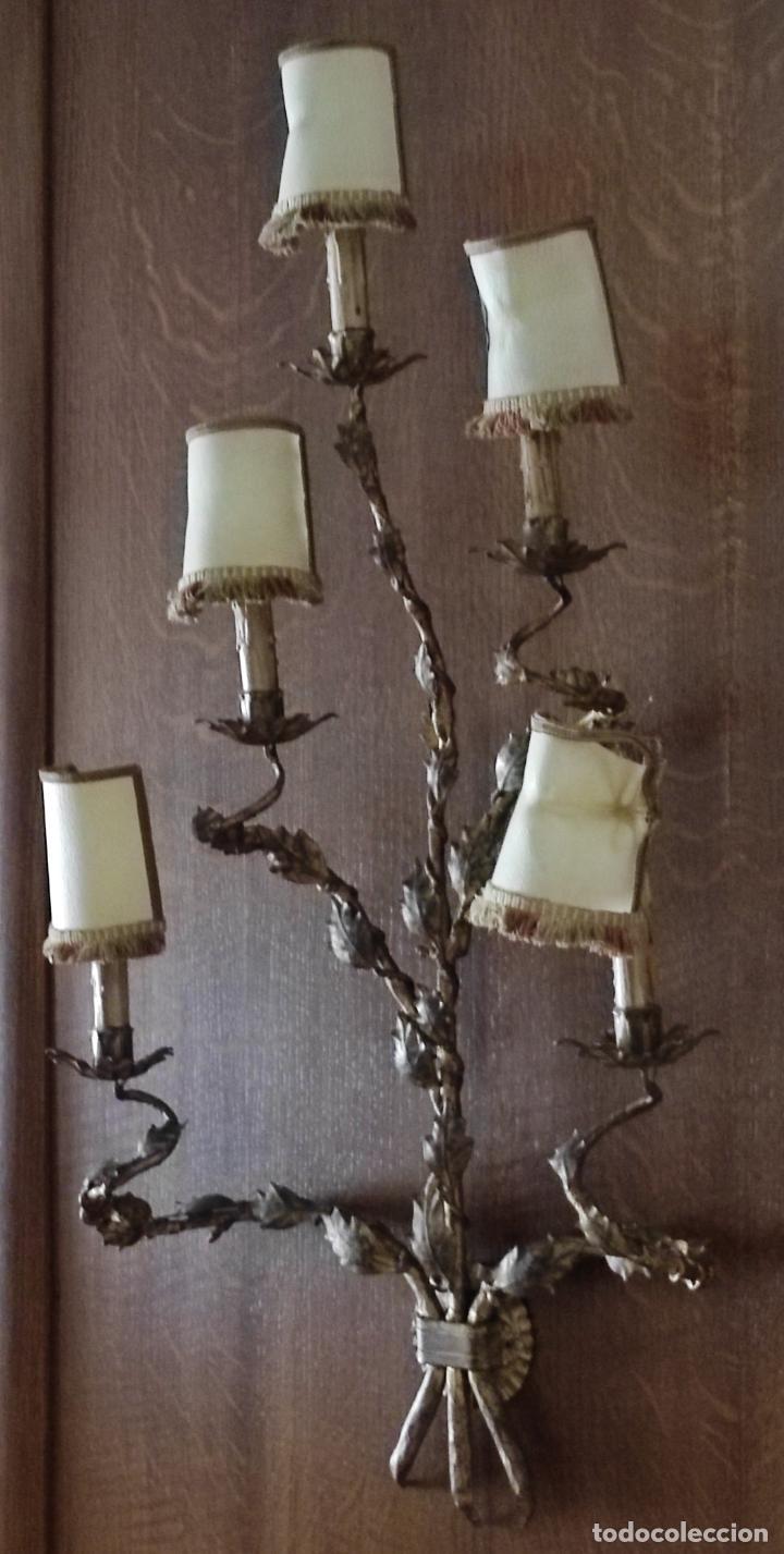 Vintage: Decorativo Gran Aplique - Hierro Forjado Dorado - 5 Luces - Vintage - Foto 3 - 268534319