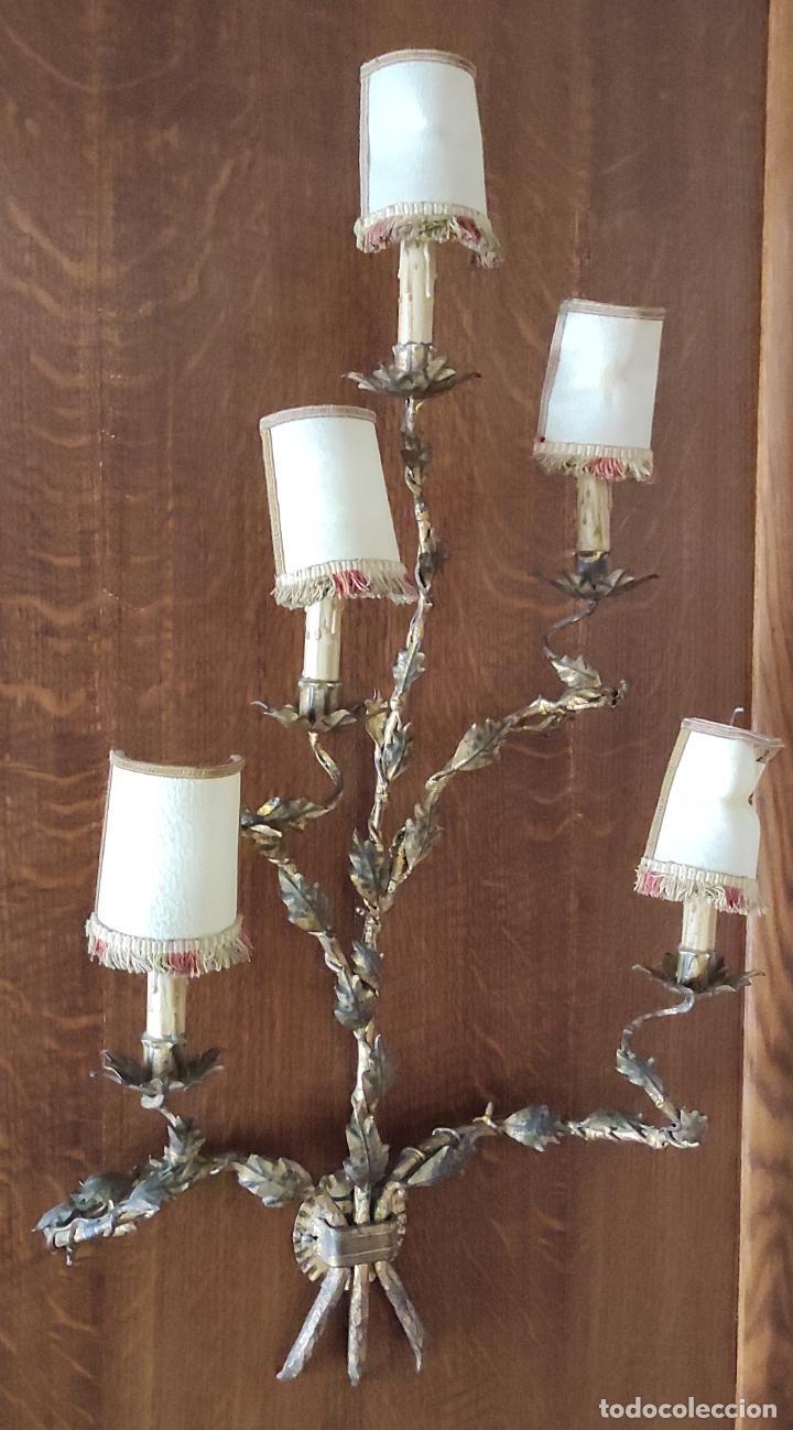 Vintage: Decorativo Gran Aplique - Hierro Forjado Dorado - 5 Luces - Vintage - Foto 4 - 268534319