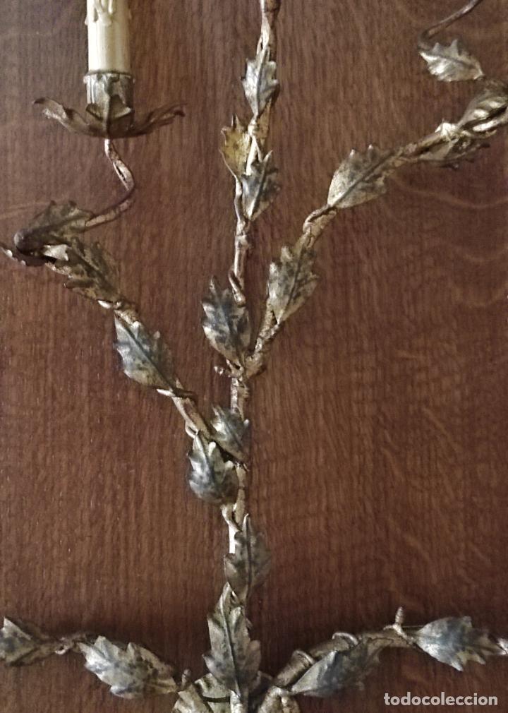 Vintage: Decorativo Gran Aplique - Hierro Forjado Dorado - 5 Luces - Vintage - Foto 6 - 268534319