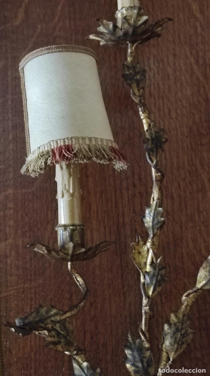 Vintage: Decorativo Gran Aplique - Hierro Forjado Dorado - 5 Luces - Vintage - Foto 9 - 268534319