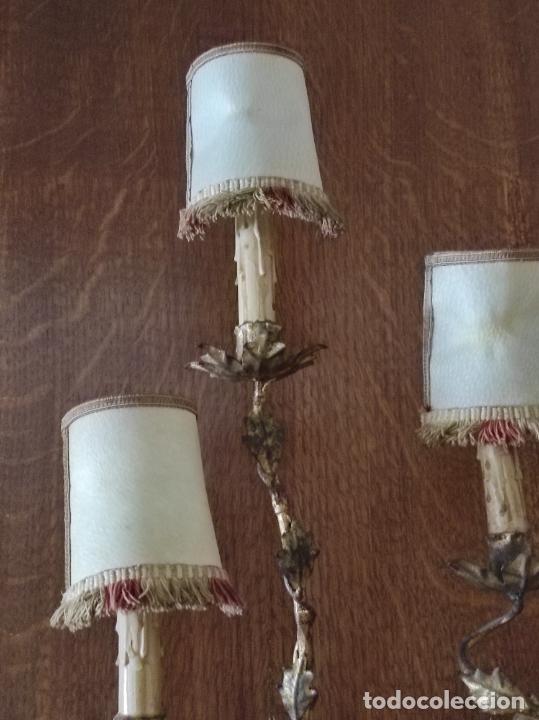 Vintage: Decorativo Gran Aplique - Hierro Forjado Dorado - 5 Luces - Vintage - Foto 10 - 268534319