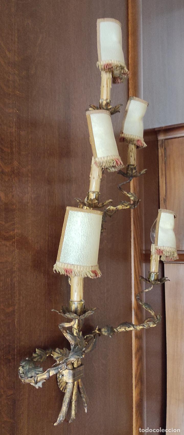 Vintage: Decorativo Gran Aplique - Hierro Forjado Dorado - 5 Luces - Vintage - Foto 12 - 268534319