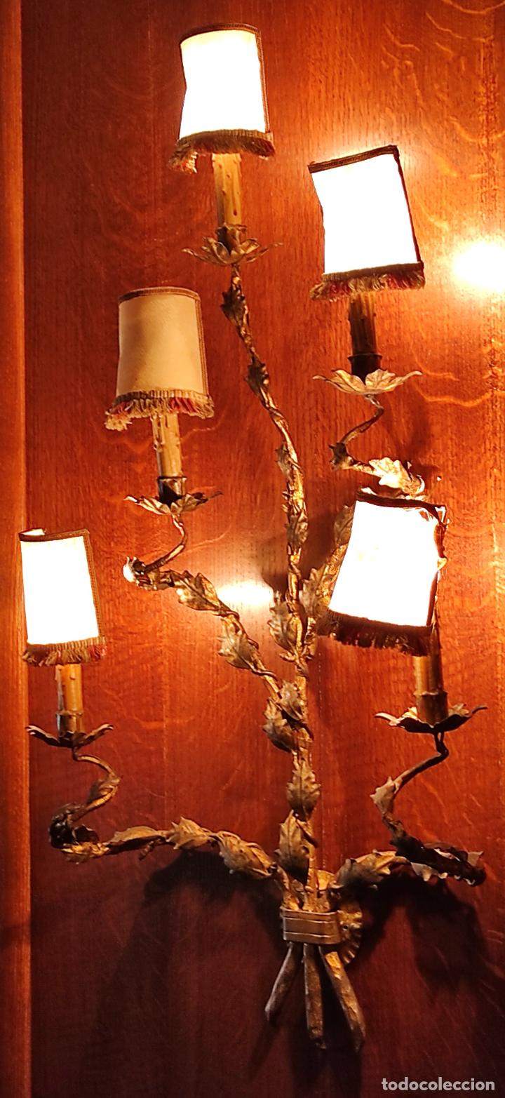 Vintage: Decorativo Gran Aplique - Hierro Forjado Dorado - 5 Luces - Vintage - Foto 16 - 268534319