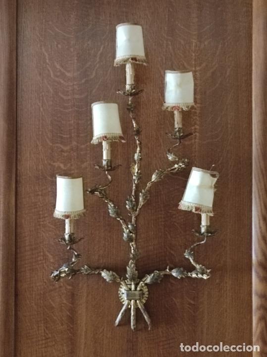 Vintage: Decorativo Gran Aplique - Hierro Forjado Dorado - 5 Luces - Vintage - Foto 17 - 268534319