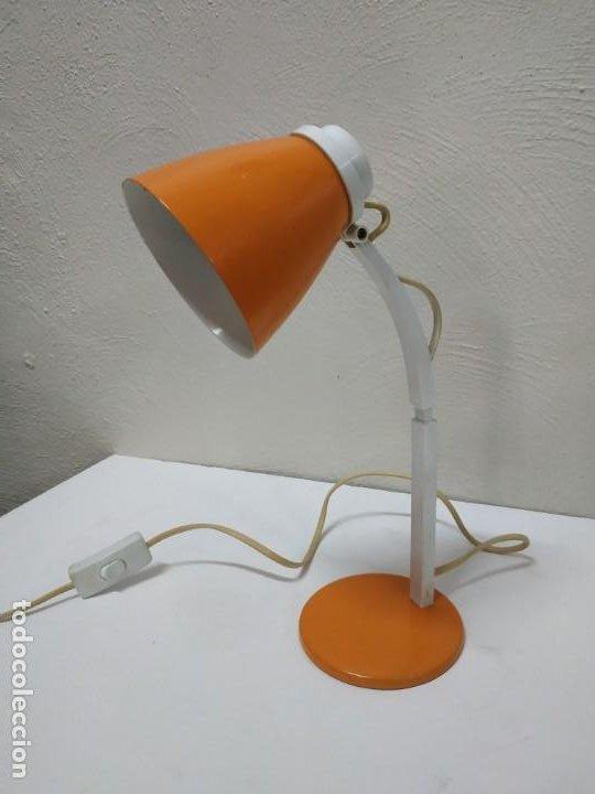 BONITA Y ORIGINAL LAMPARA DE DISEÑO VINTAGE EN NARANJA BUTANO. FUNCIONANDO CORRECTAMENTE. FLEXO (Vintage - Lámparas, Apliques, Candelabros y Faroles)