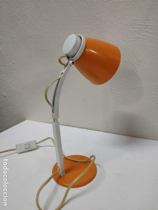Vintage: Bonita y original lampara de diseño vintage en naranja butano. Funcionando correctamente. Flexo - Foto 6 - 268893814