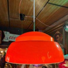 Vintage: LAMPARA TECHO CAMPANA DOBLE METALARTE NARANJA. Lote 268903514
