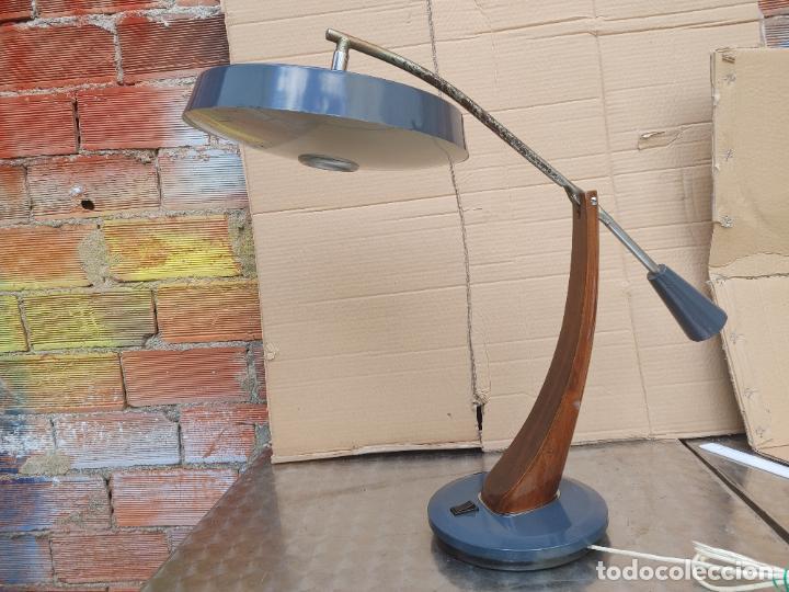 LÁMPARA FLEXO FASE MODELO PRESIDENT PÉNDULO EN COLOR GRIS FUNCIONANDO (Vintage - Lámparas, Apliques, Candelabros y Faroles)