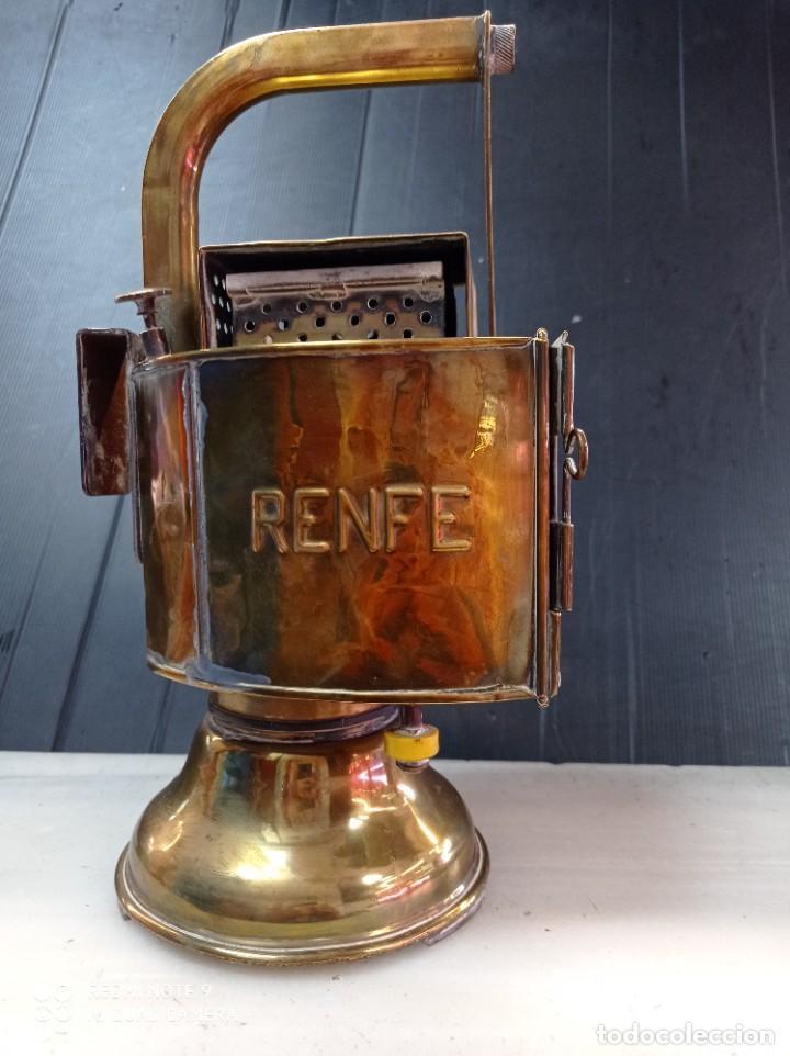 ANTIGUA LAMPARA FAROL DE RENFE, DE LATÓN , CARBURO PERFECTO ESTADO (Vintage - Lámparas, Apliques, Candelabros y Faroles)