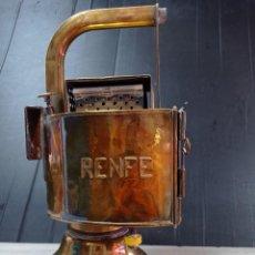 Vintage: ANTIGUA LAMPARA FAROL DE RENFE, DE LATÓN , CARBURO PERFECTO ESTADO. Lote 277137183