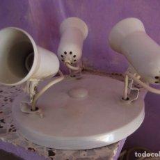 Vintage: LAMPARA PLAFÓN CON TRES FOCOS BLANCOS GRADUABLES . PORTALAMPARAS E 27 ( ROSCAS NORMALES ). Lote 279507953