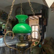 Vintage: LAMPARA TULIPA VERDE OPALINA Y BRONCE AÑOS 70. Lote 288917953