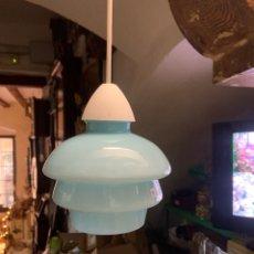 Vintage: LAMPARA TULIPA DE OPALINA AZUL CELESTE AÑOS 50. Lote 288920738