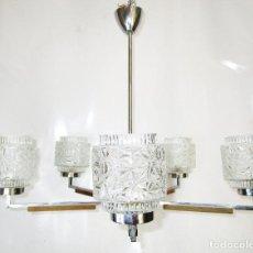 Vintage: LAMPARA NORDICA VINTAGE MID-CENTURY TEKA CRISTAL LATON. Lote 289383438