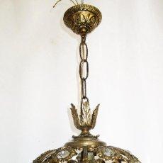 Vintage: LAMPARA BOLA BRONCE Y CRISTAL, SUPER LLAMATIVA. Lote 293506503