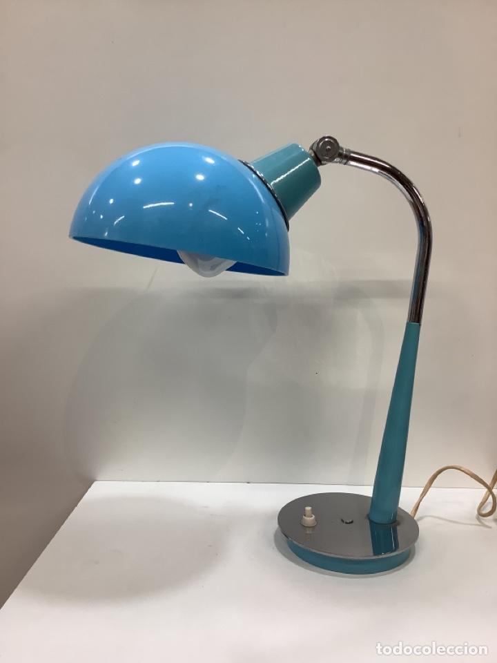LAMPARA VINTAGE AZUL TURQUESA FUNCIONA CORRECTAMENTE (Vintage - Lámparas, Apliques, Candelabros y Faroles)