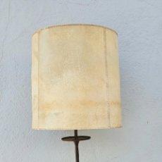 Vintage: LAMPARA DE HIERRO FORJADO Y PERGAMINO, AÑOS 70.. Lote 294816423