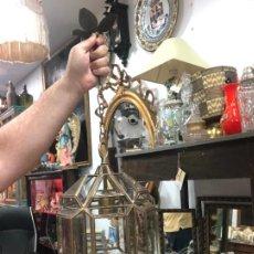 Vintage: PRECIOSA LAMPARA ESTILO GRANADINA DE CRISTAL - MEDIDA 38X22 CM. Lote 295330548