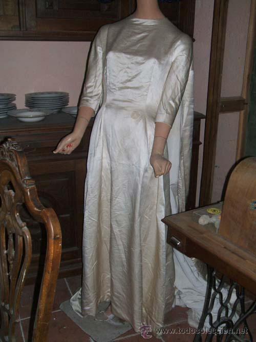 vestido de novia años 70, en color crudo. larga - comprar moda