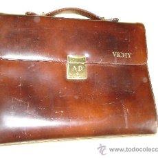 Vintage: ESTUPENDO MALETIN O CARTERA DE PIEL CON ANILLAS Y PLASTICOS PARA DIAPOSITIVAS - VICHY . Lote 39067615